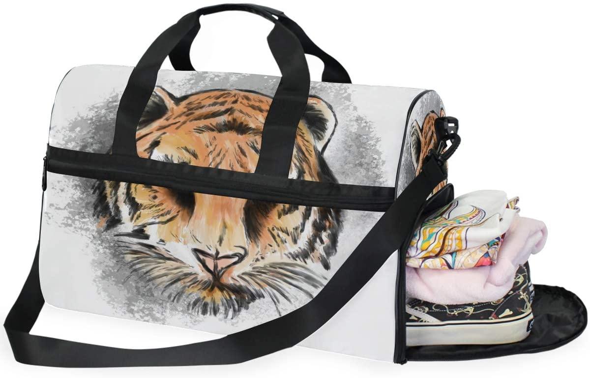 Large Duffle Bag Illustration Tiger Eyes Mascot Graphic In White Background Gym Sport Travel Weekender Bag Handbag for Women Men