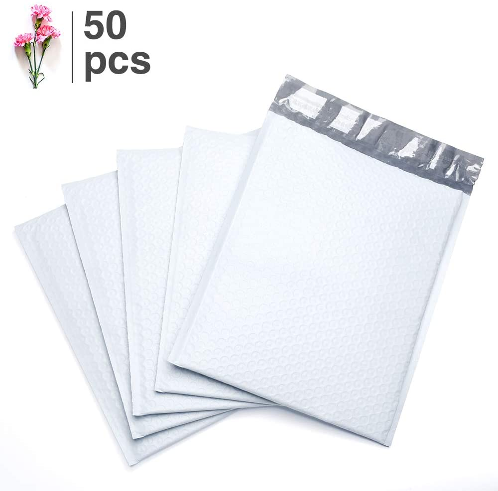 FU Global #0 6x10 Inches White Poly Bubble Mailer Padded Envelopes Pack of 50 pcs