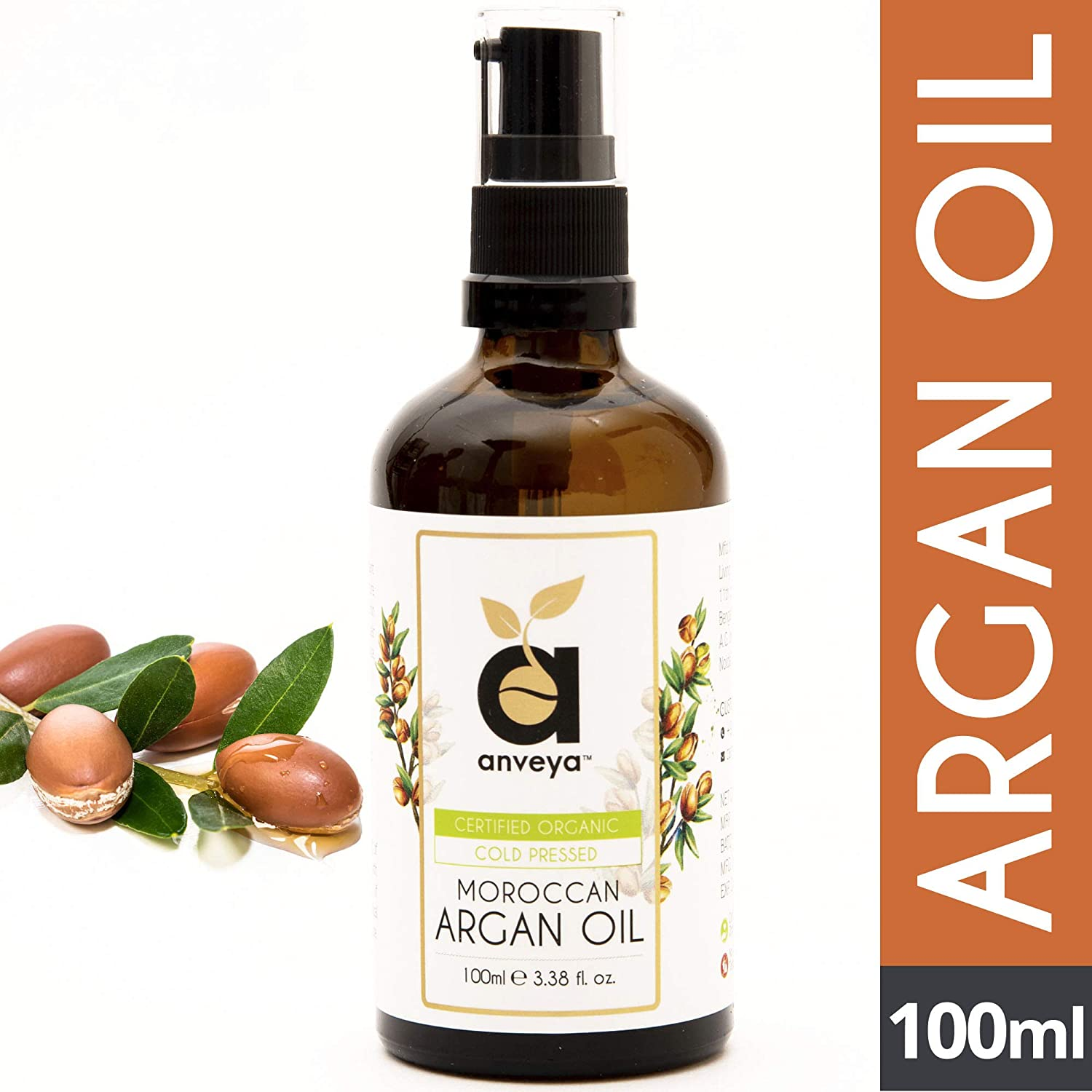 Anveya Moroccan Argan Oil, Cold Pressed & Certified Organic, 100ml (for Hair, Skin & Anti-Ageing Face Care)