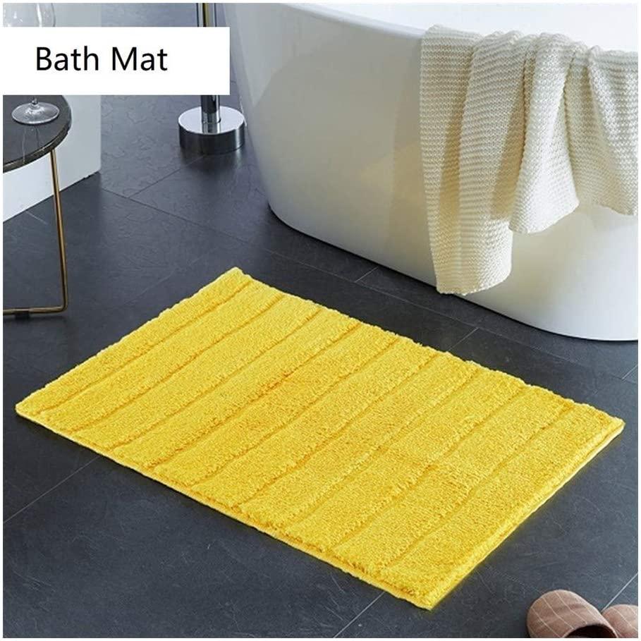 Bathroom Rug Bath Mat, Soft, Comfortable Carpet Mat for Bathroom Kitchen Bath Rugs, Machine Washable Non-Slip Bath Rug (Color : Yellow, Specification : 18x26 inch)