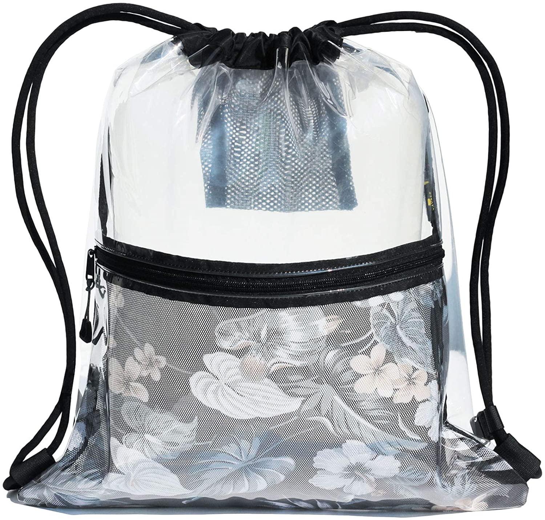 Heavy-duty Clear Drawstring Bag Gym Bag for Stadium Yoga Gym Travel Beach Unisex