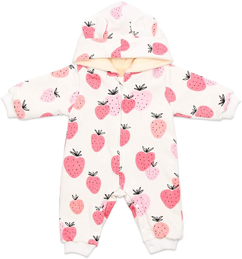 BEBENEW Newborn Baby Boys Girls Bear Ears Cotton Hoodie Zipper and Snaps Rompers Winter Fleece Warm Jumpsuit Outfits Clothes