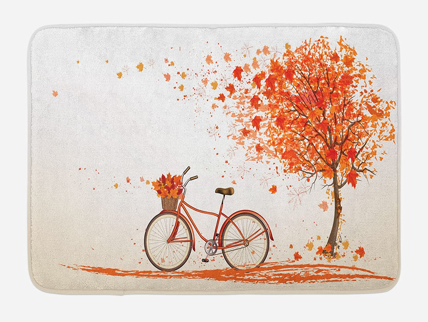 Ambesonne Bicycle Bath Mat, Autumn Tree with Aged Old Bike and Fall Tree November Day Fall Season Park Nature Theme, Plush Bathroom Decor Mat with Non Slip Backing, 29.5 X 17.5, Orange