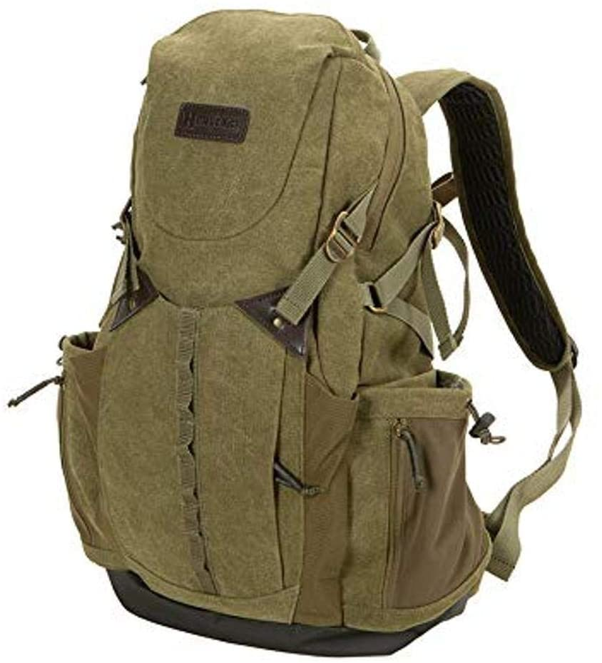 Allen Company Heritage North Platte Deluxe Backpack, Durable 100% Cotton Canvas Fabric, Laptop Sleeve, Multiple Pockets, Waterbottle Holder, Waterproof Bottom, 12 L x 5 W x 19 H inches, Olive Green