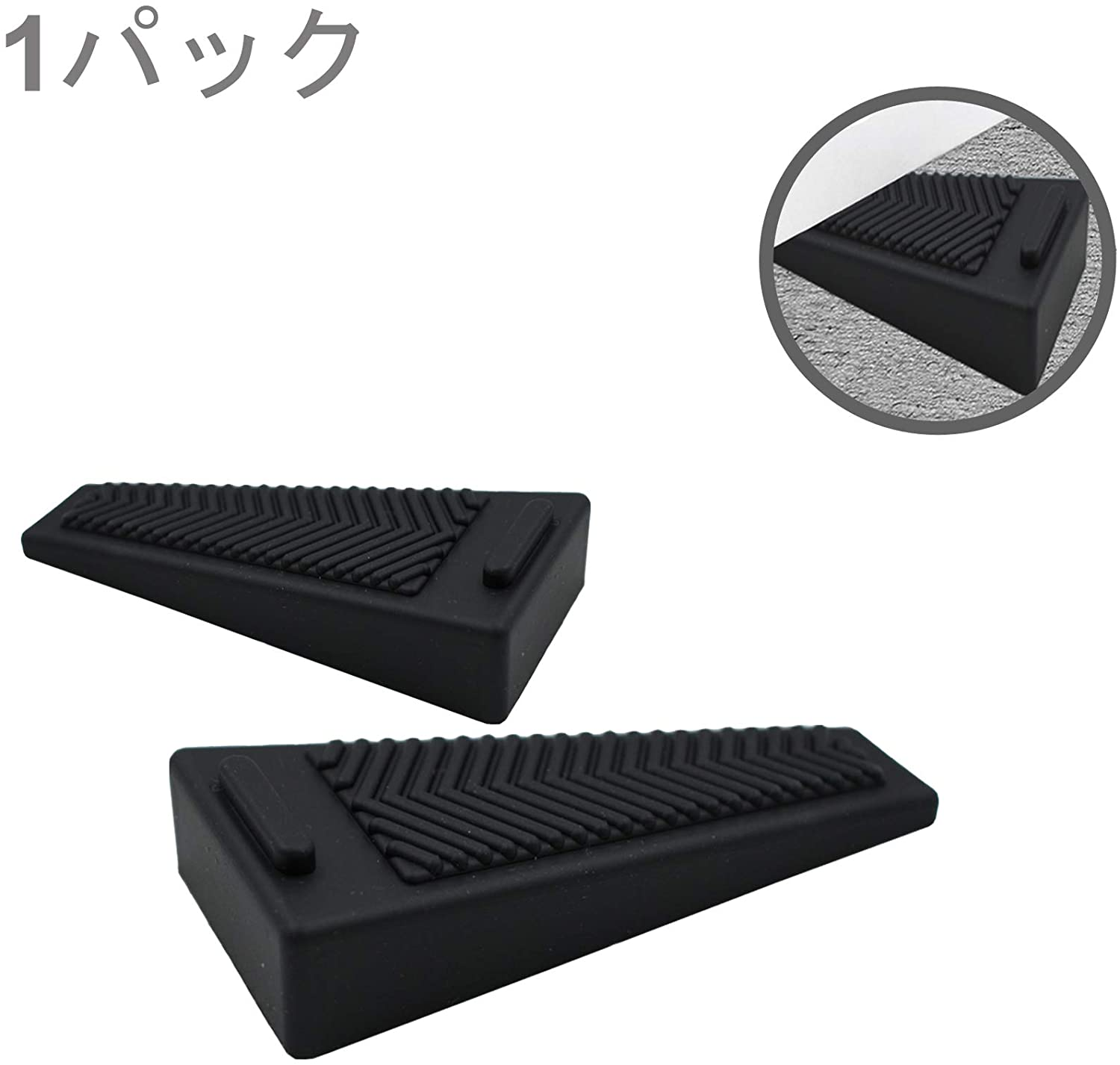 2 Pack Rubber Door Stop Wedge Flexible Door Stopper Tip Rubber Home Door Stop Bumper Heavy Duty Design Doorstops Work on Carpet/Floors