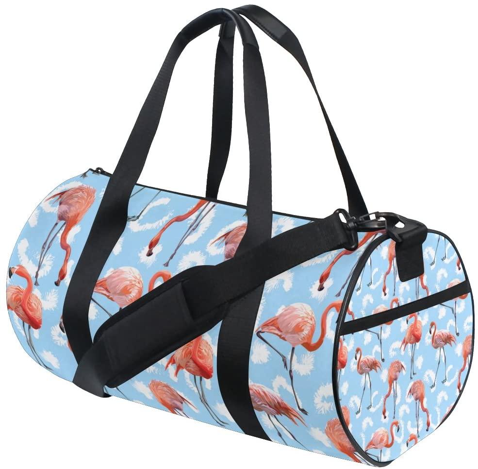 My Little Nest Sports Gym Bag Flamingo Pattern Lightweight Travel Duffel Bag for Women Men