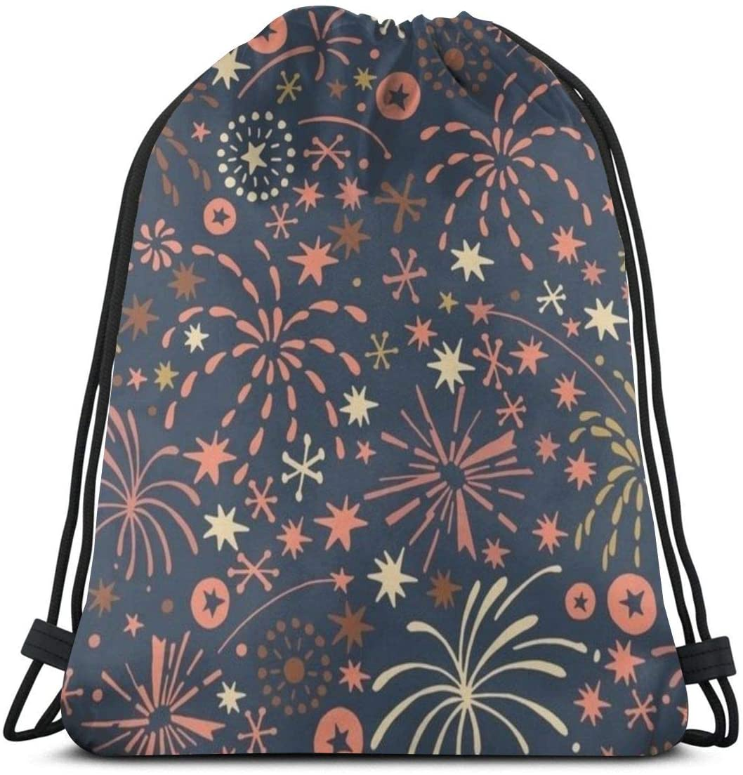 Backpack Drawstring Bags Cinch Sack String Bag Fireworks Bloom Beautiful Sackpack For Beach Sport Gym Travel Yoga Camping Shopping School Hiking Men Women