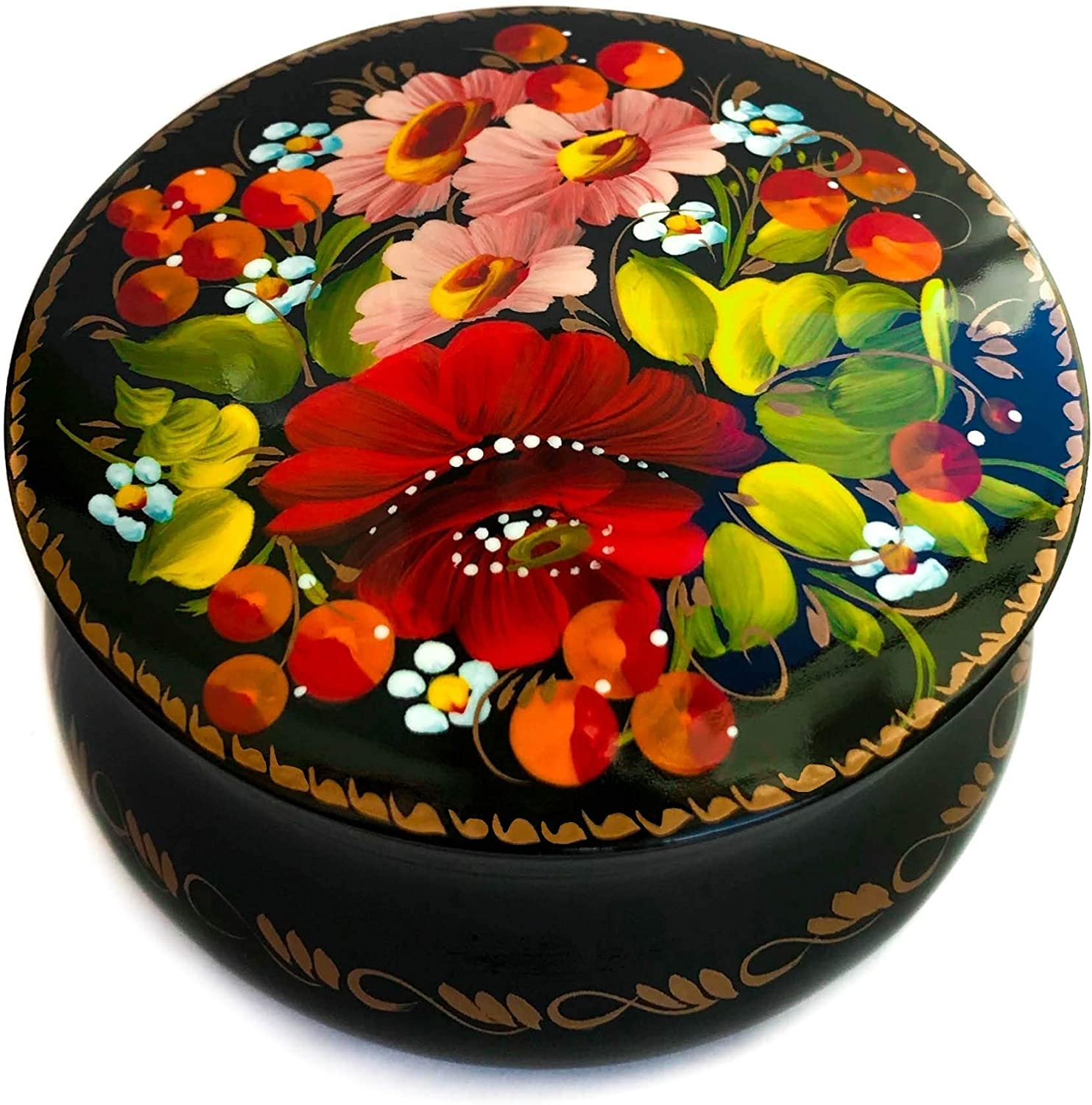 Small Lacquer Box with Hand Painted Flowers for Earrings Necklace, Rings, Nice Gift for Girls and Women