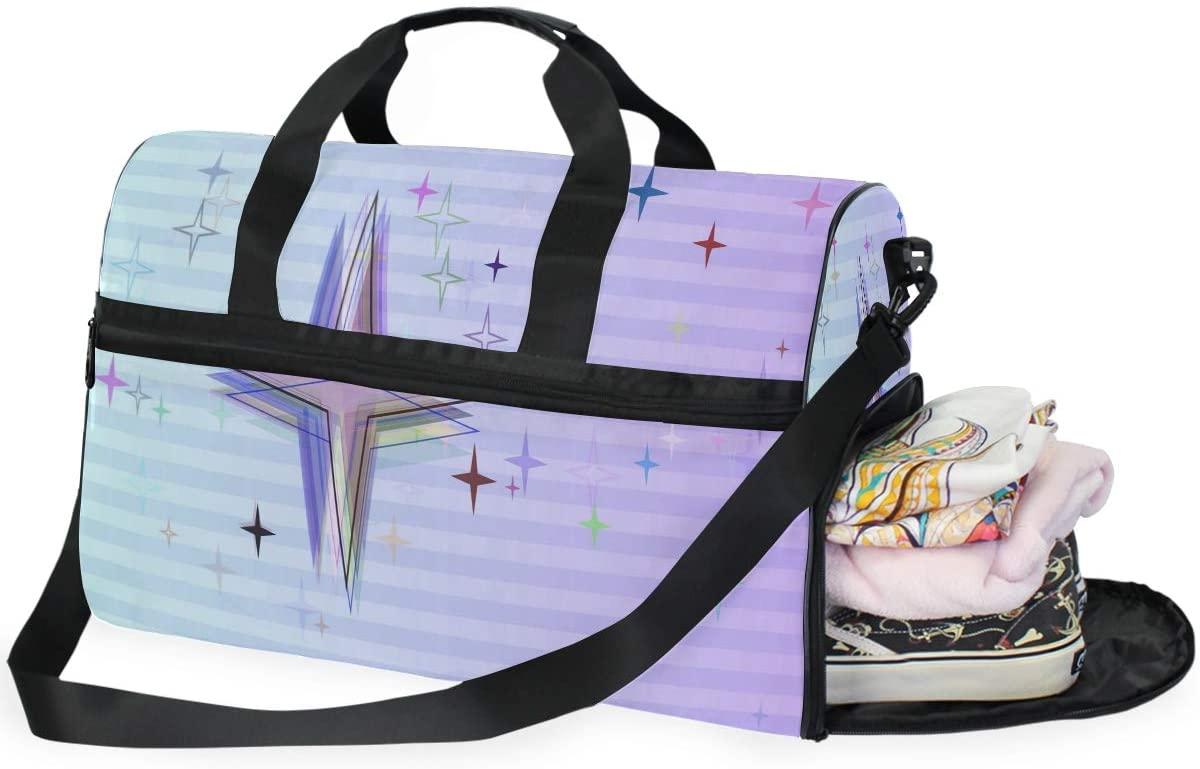 Gym Bag Unique Star Cartoon Cute Large Duffle Weekender Bag for Women Men Travel Overnight