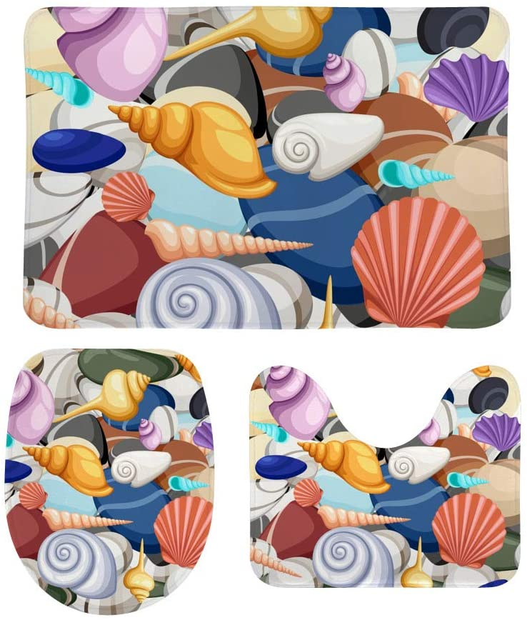My Little Nest Bathroom Rugs and Mats Sets 3 Piece Sea Shells Washable Non Slip U-Shaped Contour Rug Mat and Lid Cover for Bathroom
