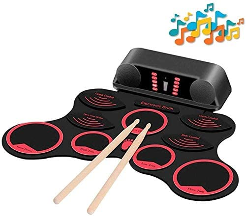 JZJSZB Electronic Drum USB Charging Hand roll Drum kit Convenient Musical Toys Color Built-in Stereo Speaker Foldable Musical Instrument