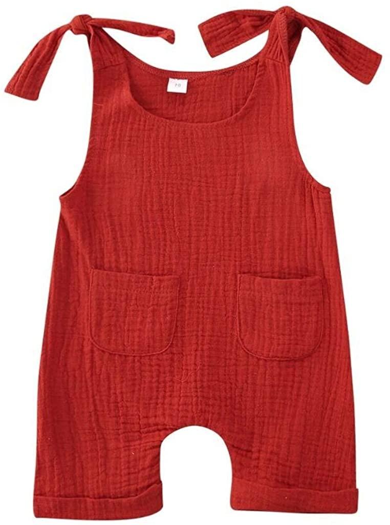 Sasaerucure Infant Baby Girl Boy Clothes Sleeveless Romper Basic Plain Jumpsuit Cotton Linen One Piece Bodysuit Outfit Summer