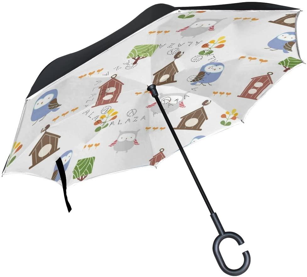 Vipsk Umbrella Reverse Umbrella Cartoon Owl Creative Cars Umbrella Double Layer Inverted Umbrella Windproof Straight Waterproof Inside Out Travel Umbrellas