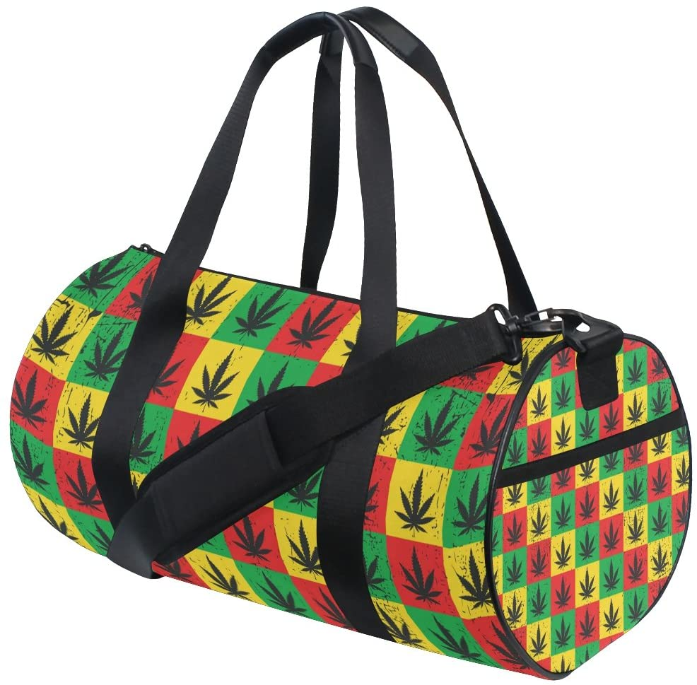 My Little Nest Sports Gym Bag Colorful Checks Maple Leaf Lightweight Travel Duffel Bag for Women Men
