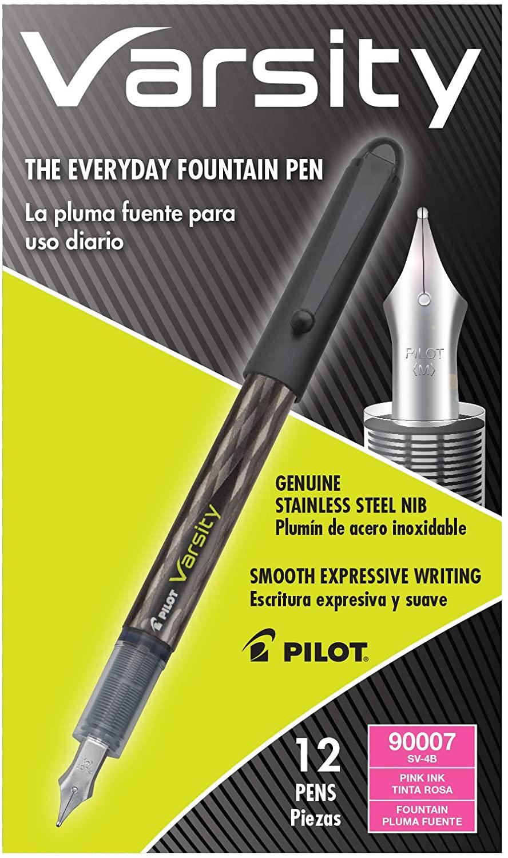 Pilot Varsity Disposable Fountain Pens, Pink Ink, Dozen Box (90007)