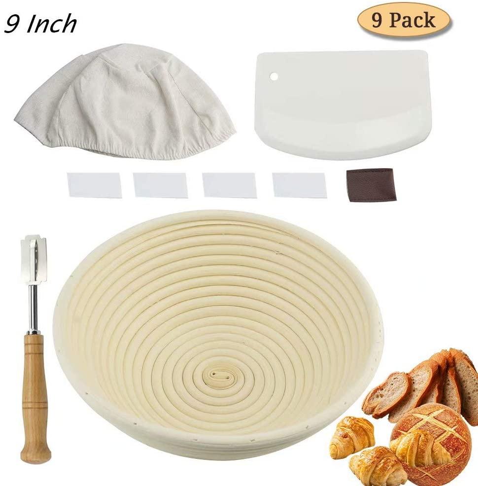 9 inch Proving Basket for Bread, Banneton Proofing Basket for Sourdough Bread & Gluten Free Bread with Dough Scraper, Bread Lame, Bread Basket Liner Cloth