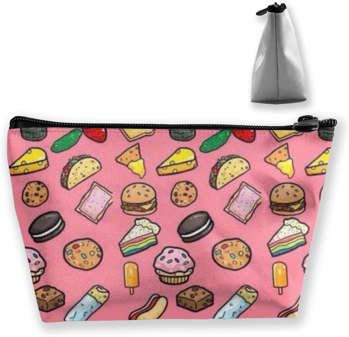 Trapezoidal Storage Bag Hamburger Hot Dog Double Print Handbag Coin Purse Cosmetic Pouch Wallet Pencil Holder