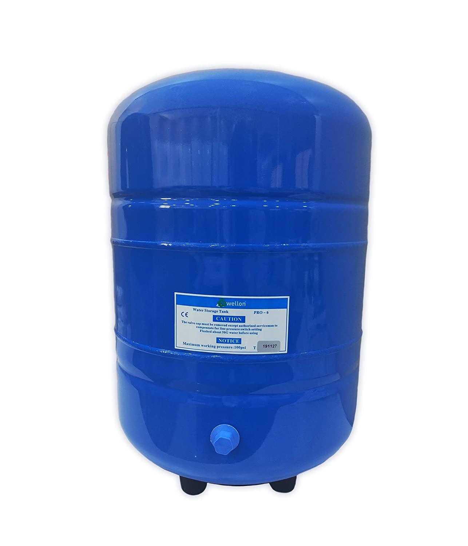 Wellon 6 Gallon Steel Expansion Reverse Osmosis RO Water Storage Tank (22 Liter)
