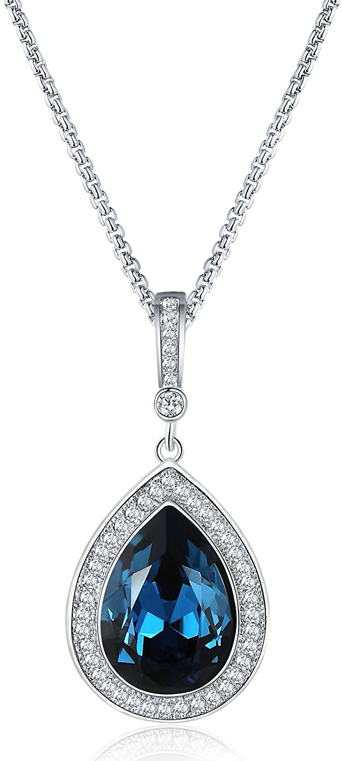 Mevecco Womens Pendant Necklace with Swarovski Crystal Water Drop Pendant Fashion Jewelry in The Gift Box
