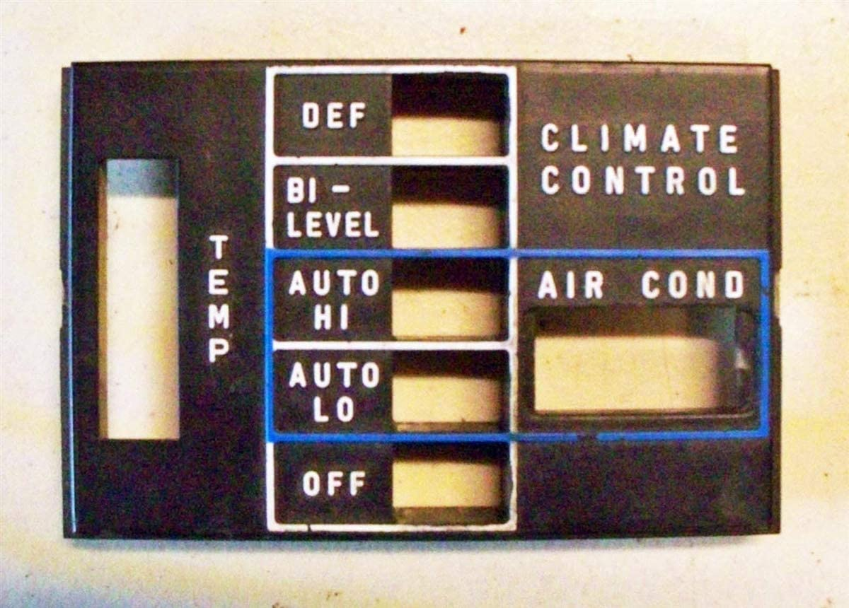 Climate Control Push Button Faceplate C107 R107 W116 W123 '71-'80