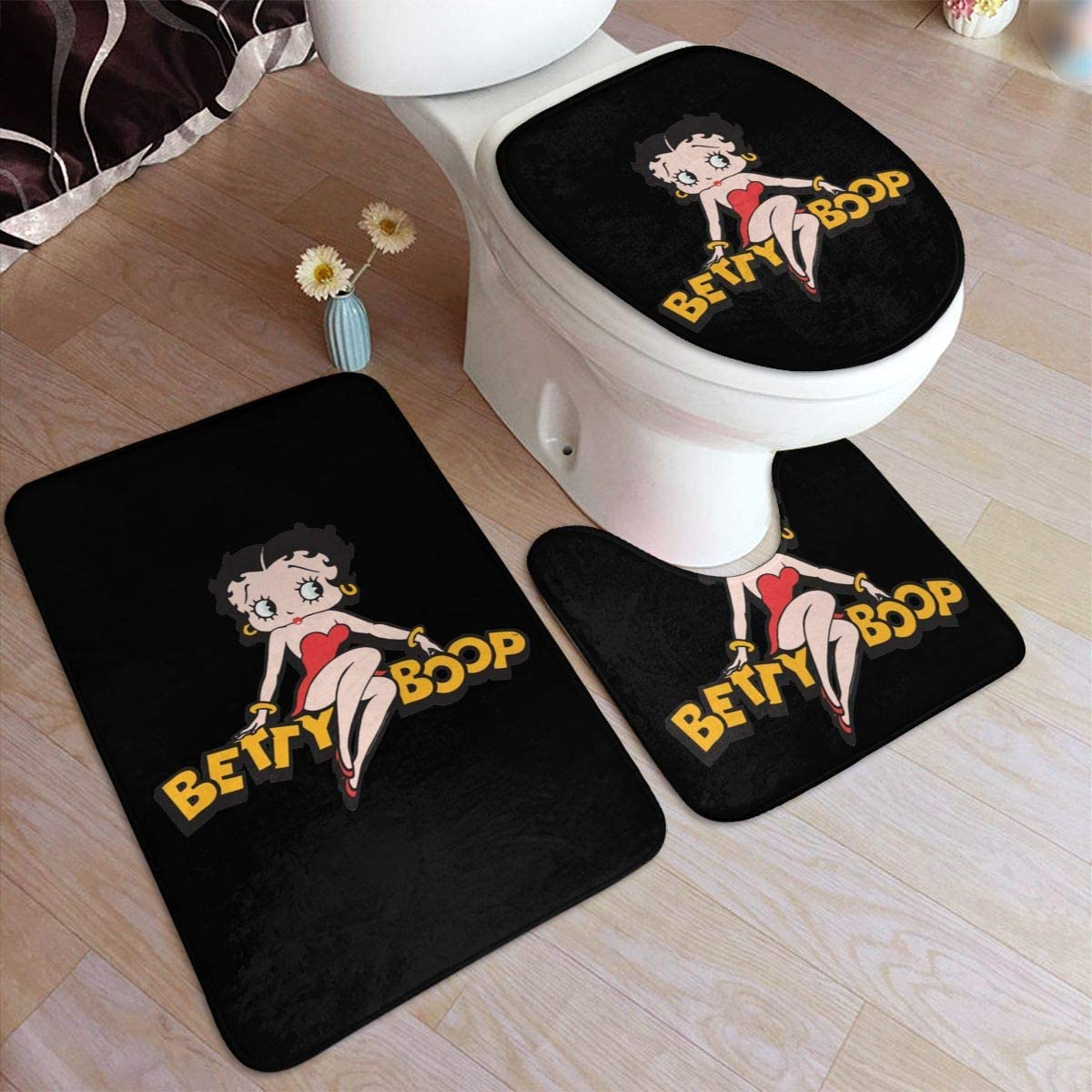 Betty Boop Bathroom Rug Mats Set 3 Piece Anti-Skid Pads Bath Mat + Contour + Toilet Lid Cover Bathroom Antiskid Pad 19.5in31.5in
