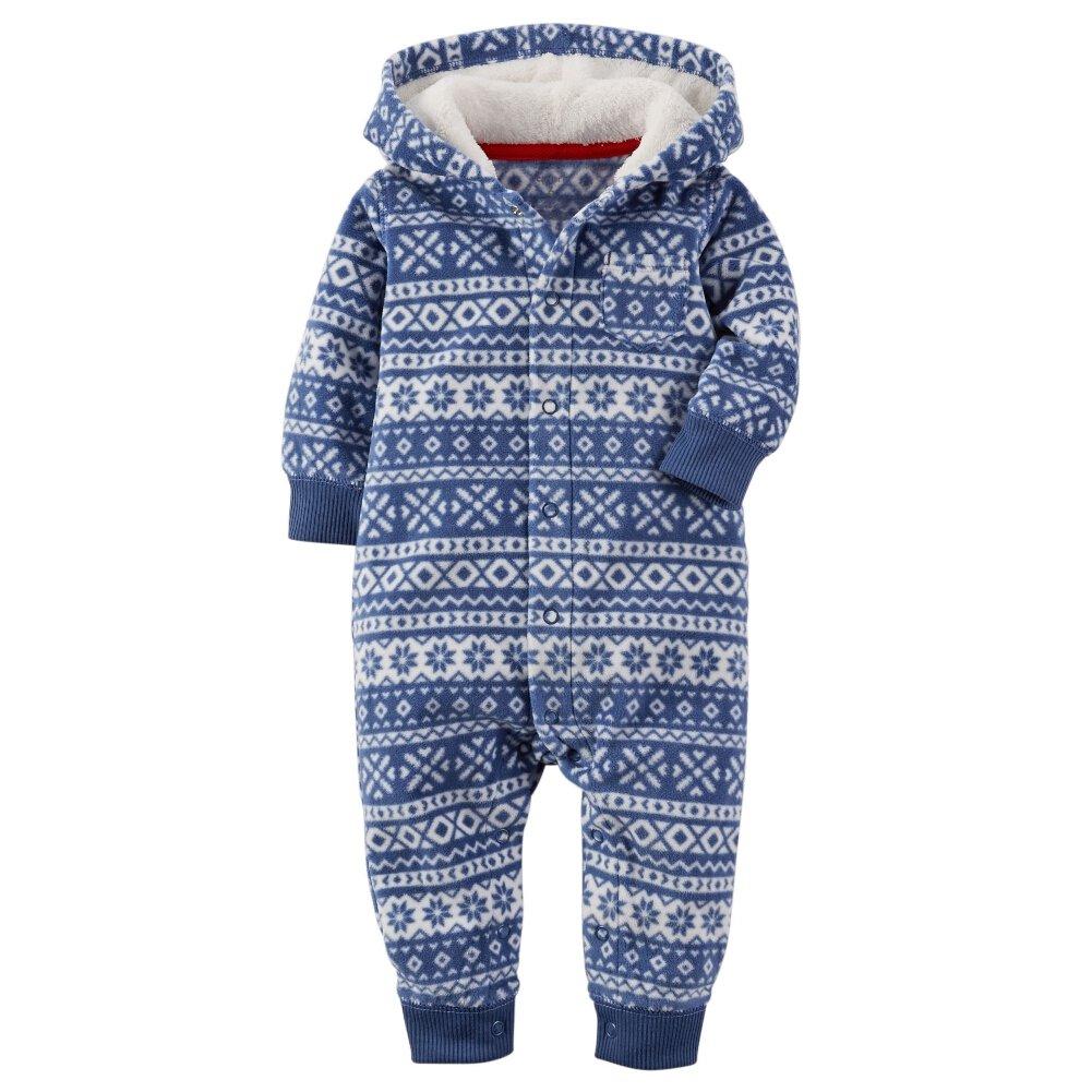 Carters Baby Boys Fair Isle Hooded Fleece Jumpsuit Blue 6M