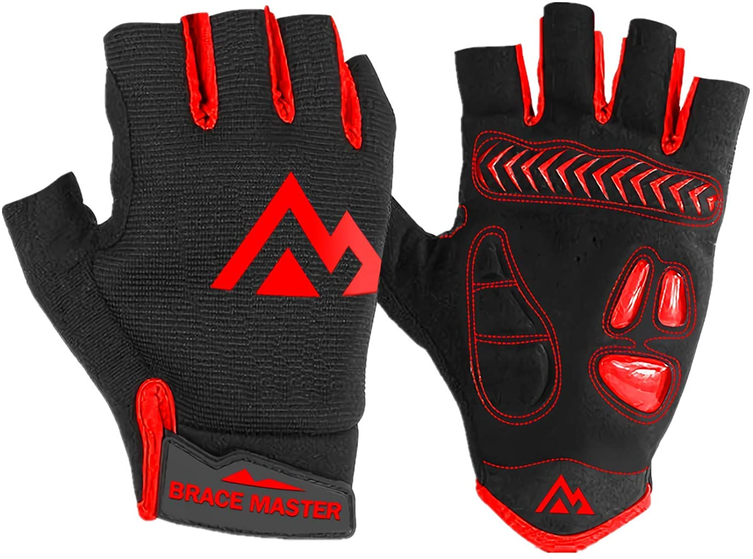 Brace Master Cycling Gloves Bicycle Gloves Bike Gloves Mountain Bike Gloves – Anti Slip Shock Absorbing Padded Breathable Lightweight Fingerless Gloves Sports Accessory for Men and Women