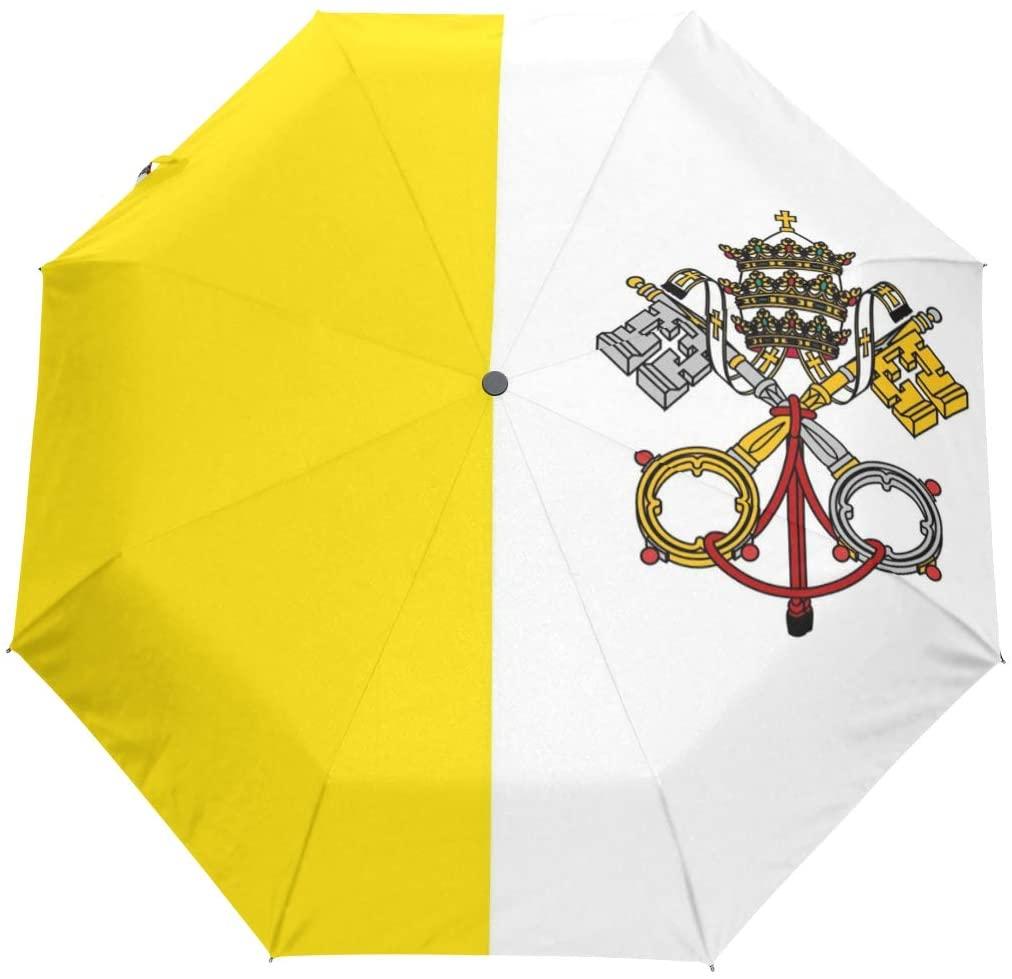 Chinein Travel Umbrella Auto Open Compact Folding Sun & Rain Protection Vatican City Flag