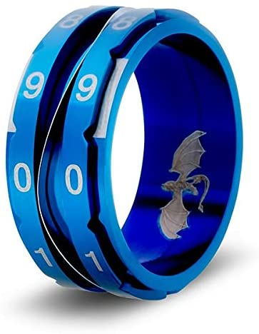 CritSuccess Clicking Life Counter Ring (Size 11 - Stainless Steel - Blue)