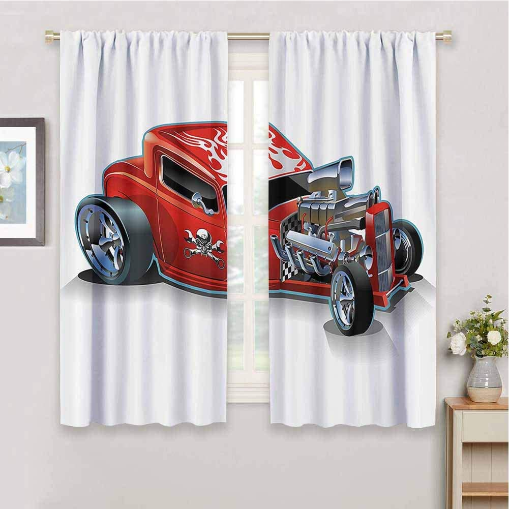 Cartoon Black Out Curtain Panels for Bedroom Race Car Engine Speedy Dangeous Full of Adrenaline Pilot Image Artwork Reduce Light, W63 x L63 Inch, Scarlet Red and Silver