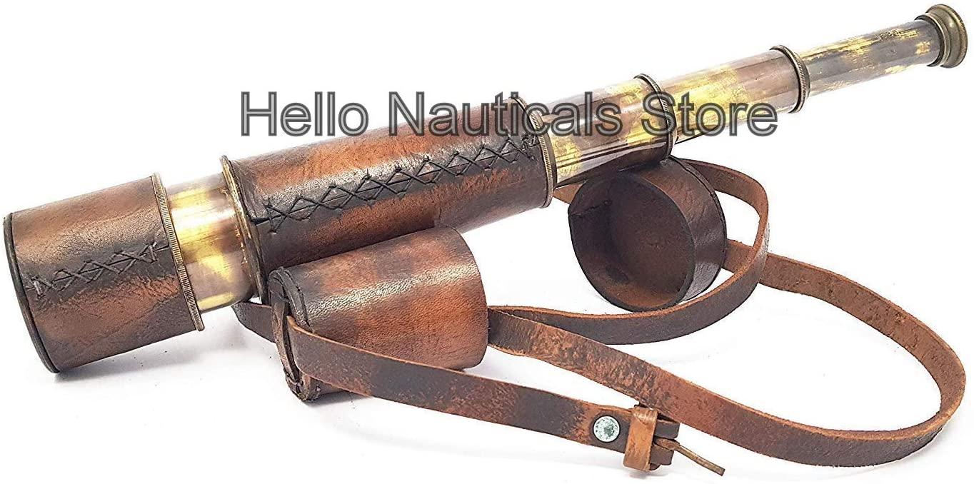 Antique Nautical Pirate Spyglass Handheld Brass Telescope Leather Encased Carry Belt