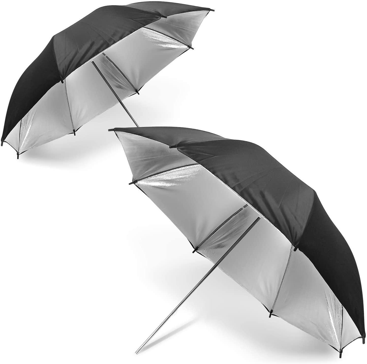 Julius Studio,33″ Wide Black/Silver Premium Bounce Umbrella Light Modifier with 8mm Shaft Diameter for Photo and Video Studio Shooting Pack of 2,JSAG501
