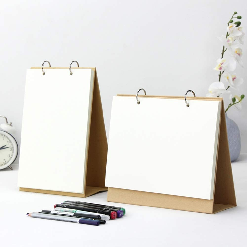 Mihaojianbing Calendar - 2 Piece Thick Paper Creative Blank Desk Calendar, Perfect for Table Decoration, Sketchbook, Festival Gift for Kids Office Decorations