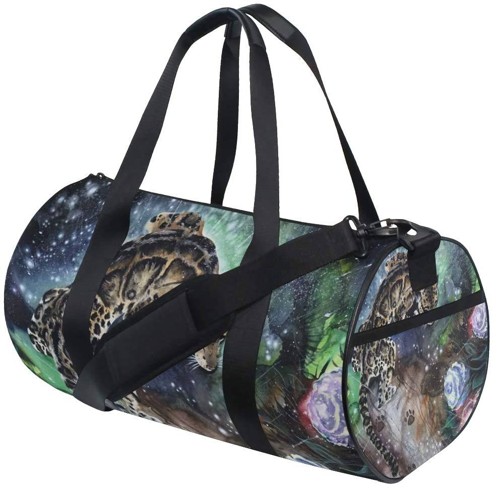 Brighter Floral Leopard Fitness Sports Bags Gym Bag Travel Duffel Bag for Mens and Womens