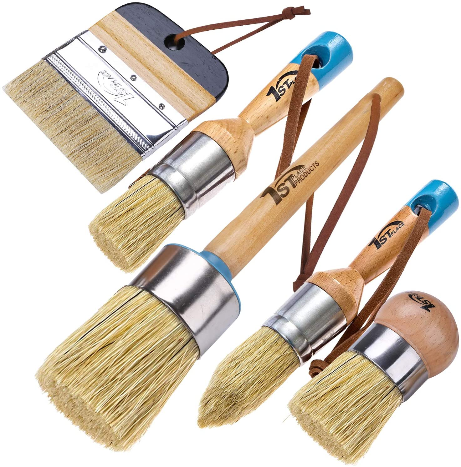1st Place Products Chalk & Wax 5 Piece Brush Set - Pure Natural Bristles - Excellent for Painting, Waxing, DIY, Home Decor