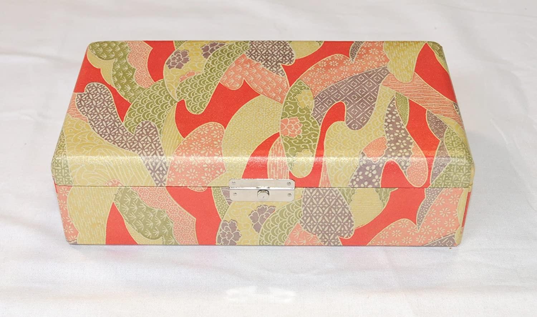 Koto Bridge Box, Yuzen, Artificial leather Pink w/import shipping 琴柱箱 友禅柄 人工革