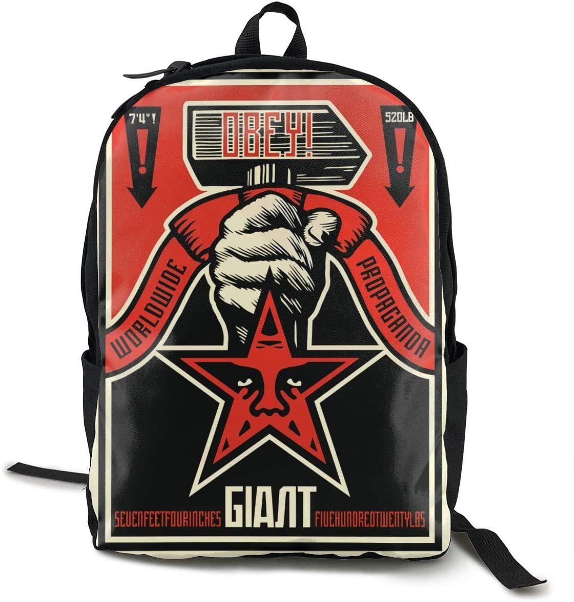 Wehoiweh Classic Obey-Propaganda Backpack School Bag Laptop Daypack Bookbagblack