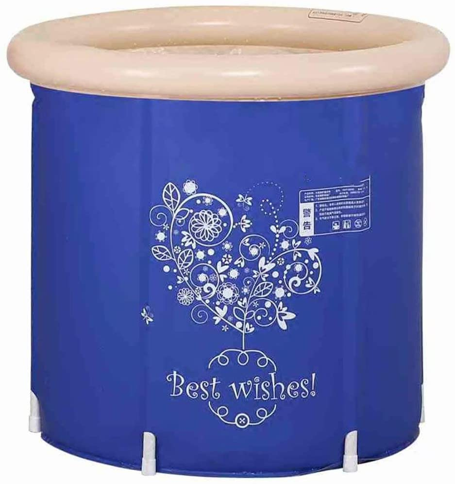 Folding Bathtub Adult Portable Super-Thick PVC Cylindrical Inflatable Plastic Bathtub,Children Bath Bucket,with air Pump, Water Saving and durable-65x65cm