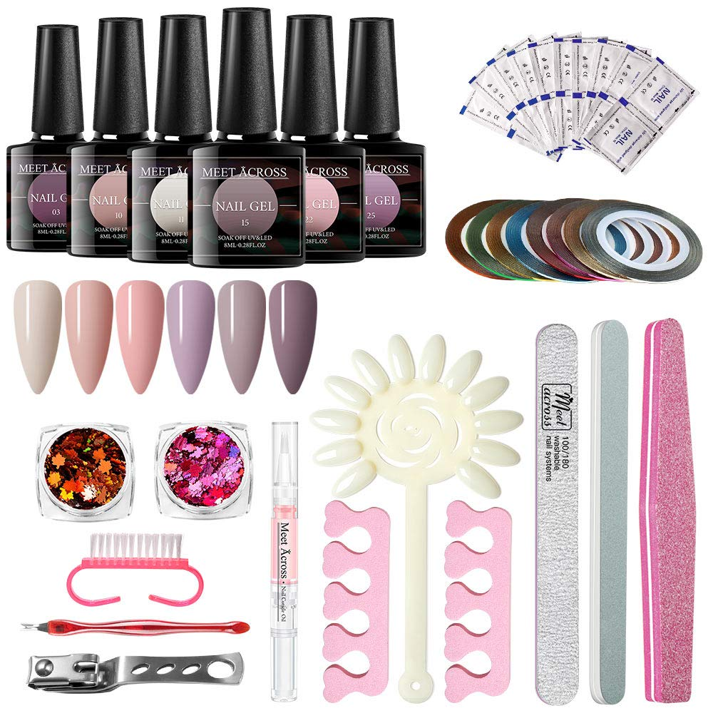 MEET ACROSS Gel Nail Polish Start Kit-6 Colors Gel Polish With Pink Gold Nail Glitter Powder and 10PCS Nail Art Upgraded Manicure Tools Set and nail remover wraps