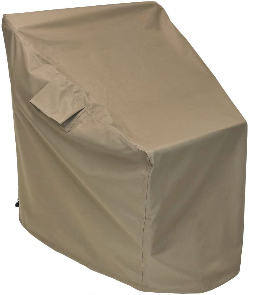 Sunnydaze Deep Seat Protective Outdoor Patio Chair Cover, Weather Resistant, Khaki