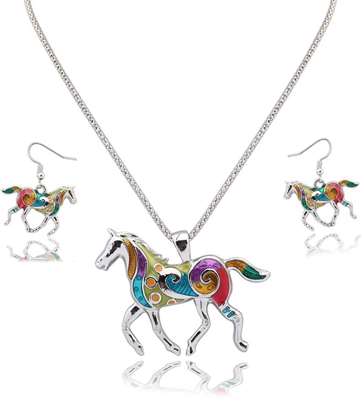 JinYu Oil Drip Rainbow Horse Pendant Necklace Earrings Set for Girls Kids Silver