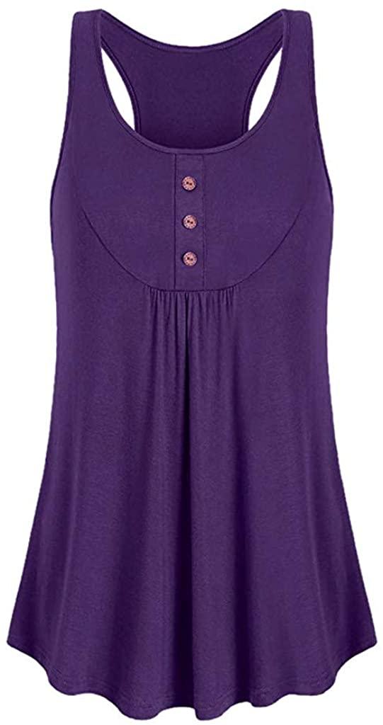Adeliber Women's Sleeveless Vest Summer Round Neck Loose Fitness Sports Vest Top Button Sports T-Shirt