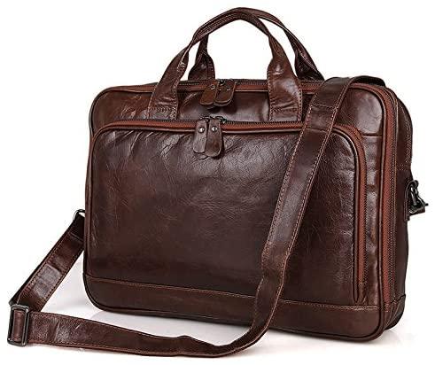 Top Qualtiy Vintage Coffee Genuine Leather Men's Laptop Bag Briefcase