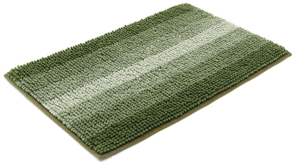 28x18 Inch Bath Rugs Made of 100% Polyester Extra Soft and Non Slip Bathroom Mats Specialized in Machine Washable and Water Absorbent Shower Mat,Green