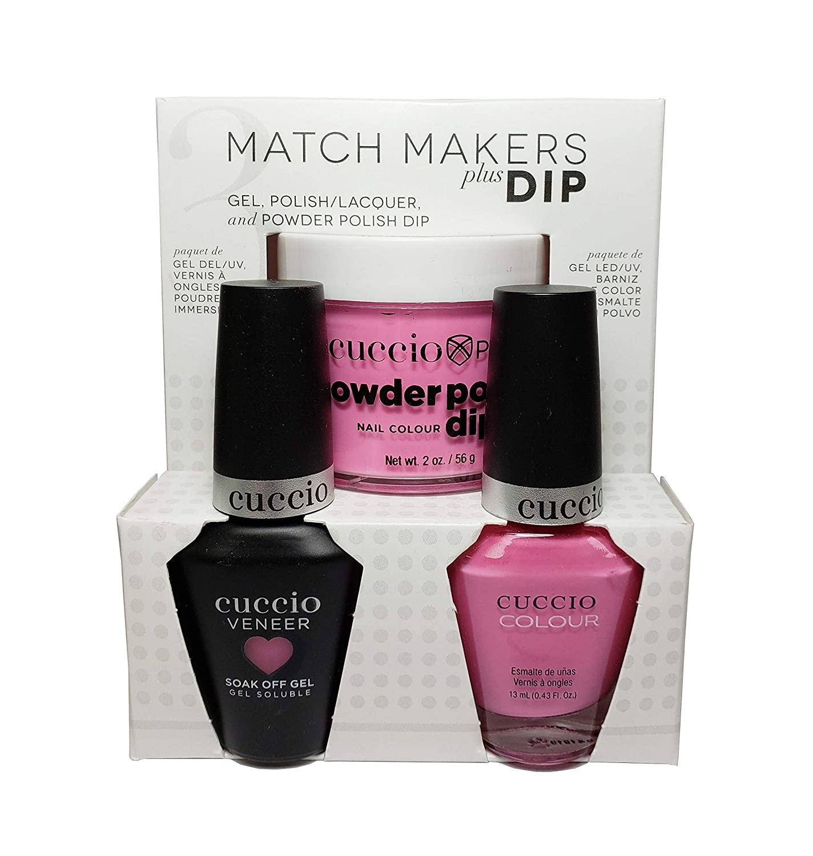 Cuccio Match Makers Plus Dip - Gel + Lacquer + Dip Powder (2oz) - Kyoto Cherry Blossom - 13ml / 0.43oz Each