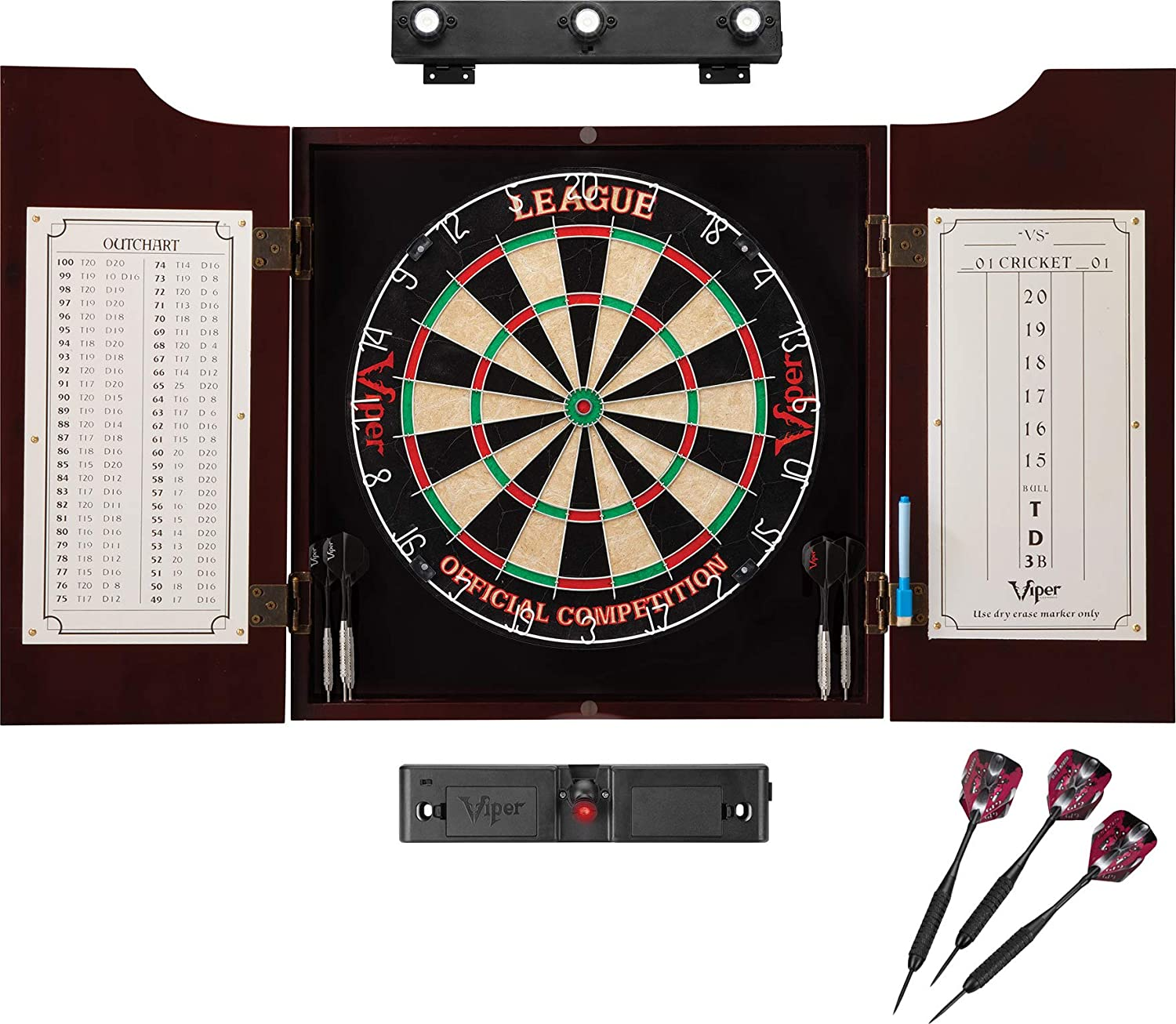 Viper by GLD Products League Sisal Dartboard, Hudson Mahogany Cabinet, Shadow Buster Dartboard Lights & Laser Throw Line, Black