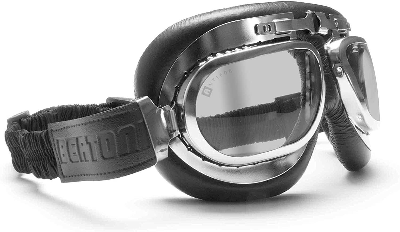 Bertoni Motorcycle Vintage Aviator Black Goggles - Chrome Plating Steel - Antifog Smoked Lens - AF191CRS by Bertoni Italy (Black - Light Smoked Lens)