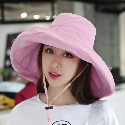 UPF 50+ Womens Summer Sun Hat UV Protection Foldable Wide Brim Packable W/Chin Strap