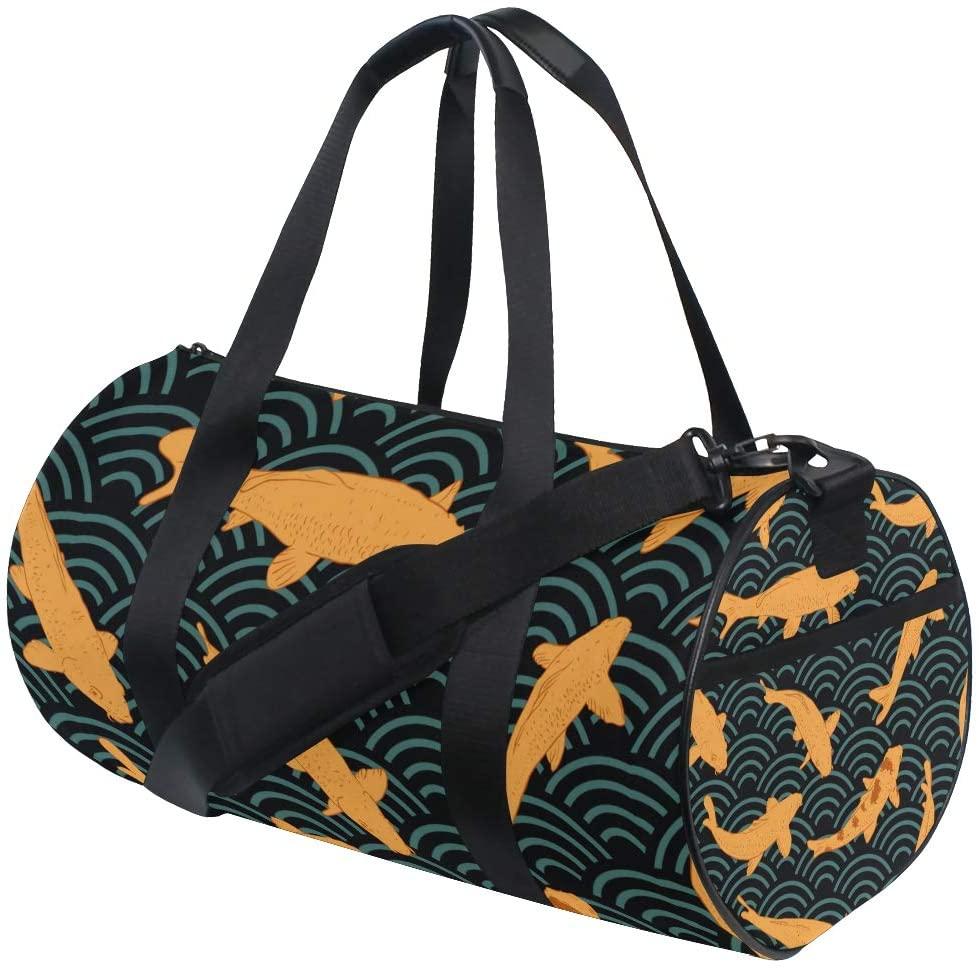 NUXIANY Travel Duffel Bag Seamless Pattern Koi Carp Literally Brocaded Sports Lightweight Canvas Gym Luggage Handbag Overnight Weekend Bag for Men Women