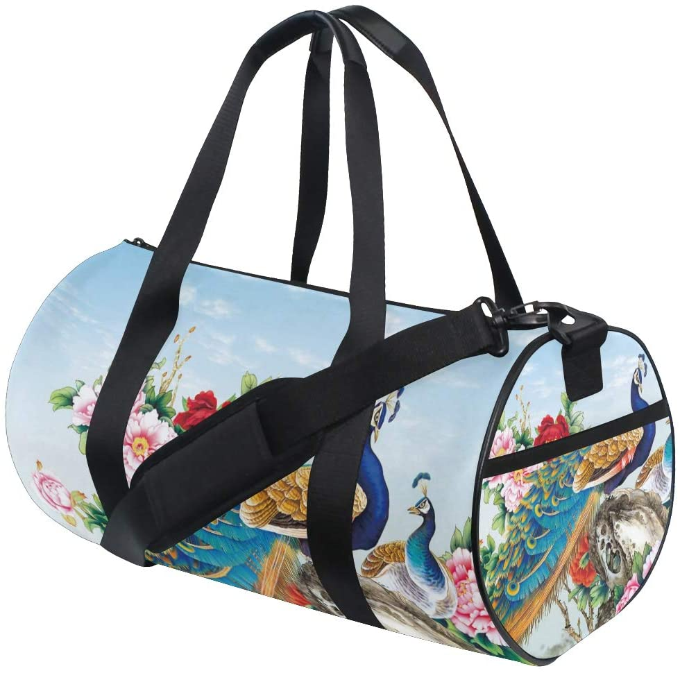 Brighter Peony Peacock Fitness Sports Bags Gym Bag Travel Duffel Bag for Mens and Womens